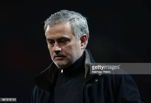 Manager Jose Mourinho of Manchester United walks off after the UEFA Champions League Round of 16 Second Leg match between Manchester United and...