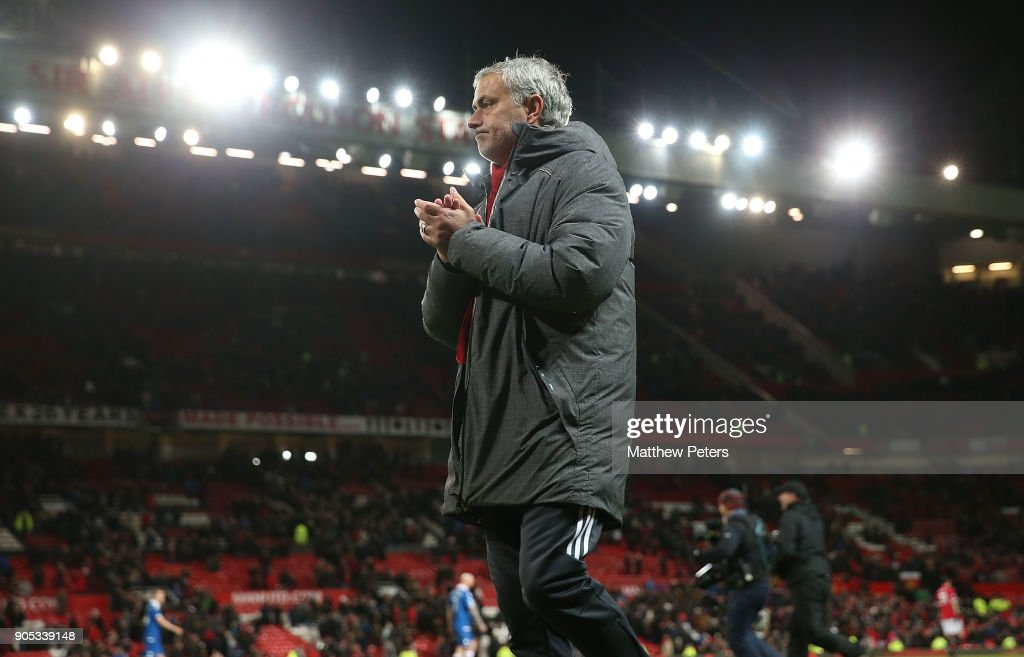Manager Jose Mourinho of Manchester United walks off ahead of the Premier League match between Manchester United and Stoke City at Old Trafford on January 15, 2018 in Manchester, England.