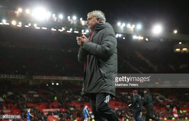 Manager Jose Mourinho of Manchester United walks off ahead of the Premier League match between Manchester United and Stoke City at Old Trafford on...