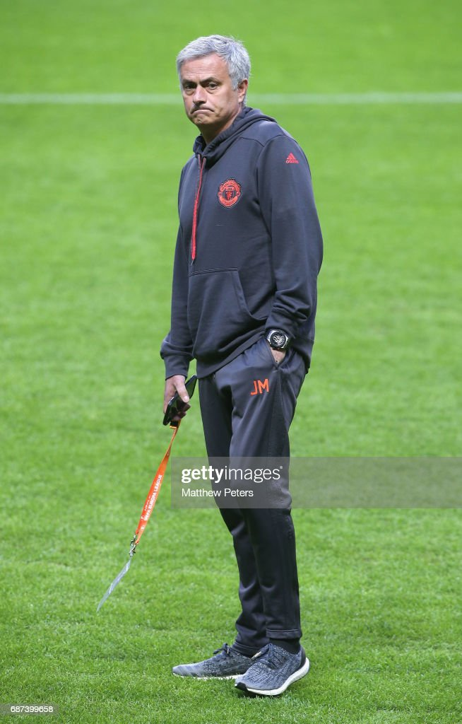 Manager Jose Mourinho of Manchester United walks on the pitch ahead of the UEFA Europa League Final at Friends Arena on May 23, 2017 in Stockholm, Sweden.