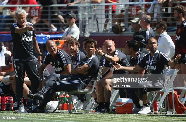 Manager Jose Mourinho of Manchester United watches from the bench during the International Champions Cup 2017 preseason friendly match between Real...