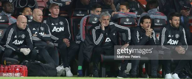 Manager Jose Mourinho of Manchester United watches from the bench during the Premier League match between AFC Bournemouth and Manchester United at...