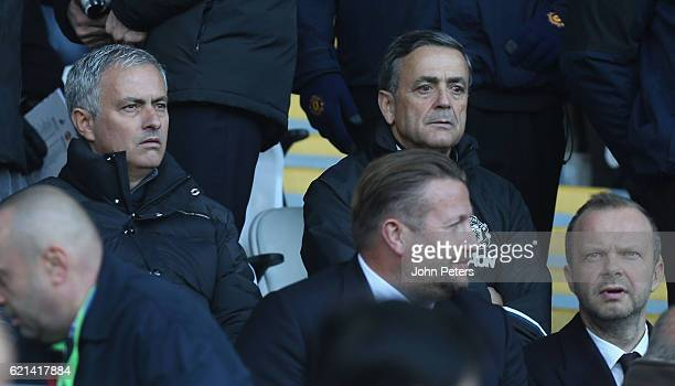 Manager Jose Mourinho of Manchester United watches from the directors' box during the Premier League match between Swansea City and Manchester United...