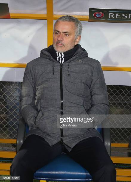 Manager Jose Mourinho of Manchester United watches from the dugout during the UEFA Europa League Round of 16 first leg match between FK Rostov and...