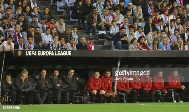 Manager Jose Mourinho of Manchester United watches from the dugout during the UEFA Europa League semifinal first leg match between Celta Vigo and...