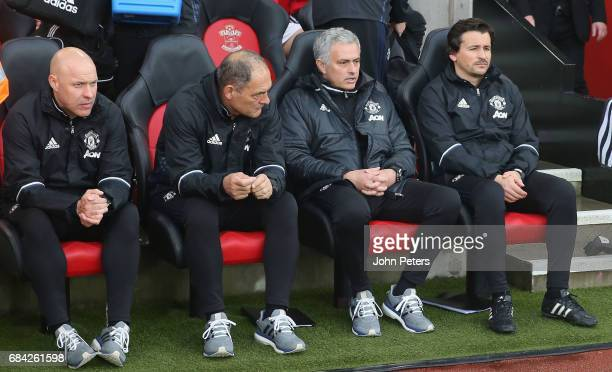 Manager Jose Mourinho of Manchester United watches from the dugout during the Premier League match between Southampton and Manchester United at St...