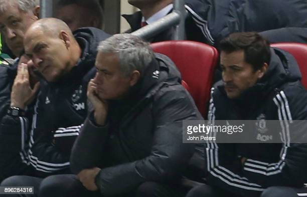 Manager Jose Mourinho of Manchester United watches from the dugout during the Carabao Cup QuarterFinal match between Bristol City and Manchester...
