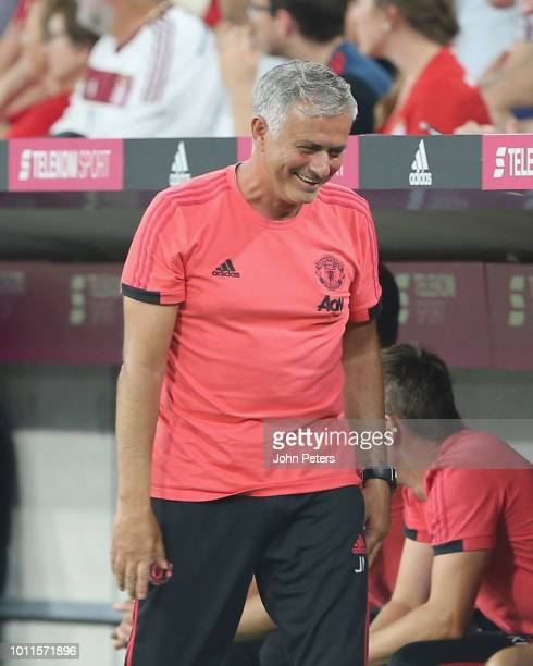 Manager Jose Mourinho of Manchester United watches from the touchline during the preseason friendly match between Bayern Munich and Manchester United...