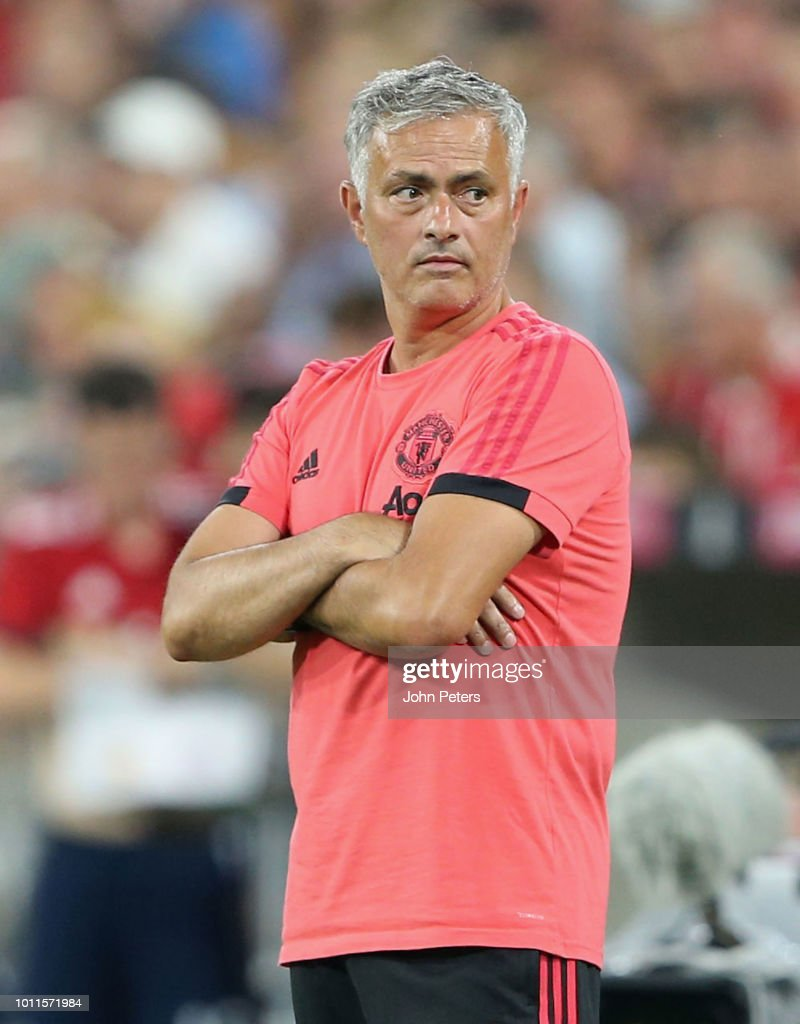 Manager Jose Mourinho of Manchester United watches from the touchline during the pre-season friendly match between Bayern Munich and Manchester United at Allianz Arena on August 5, 2018 in Munich, Germany.