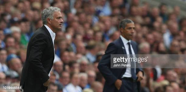 Manager Jose Mourinho of Manchester United watches from the touchline during the Premier League match between Brighton Hove Albion and Manchester...