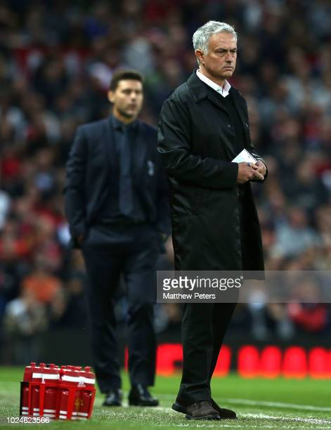 Manager Jose Mourinho of Manchester United watches from the touchline during the Premier League match between Manchester United and Tottenham Hotspur...