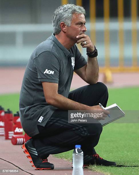 Manager Jose Mourinho of Manchester United watches from the touchline during the pre-season friendly match between Manchester United and Borussia...