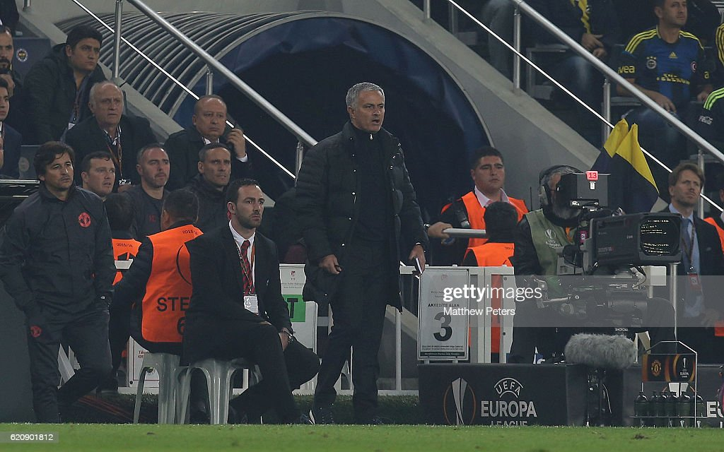Manager Jose Mourinho of Manchester United watches from the touchline during the UEFA Europa League match between Manchester United and Fenerbahce at sukru Saracoglu Stadium on November 3, 2016 in Istanbul, Turkey.