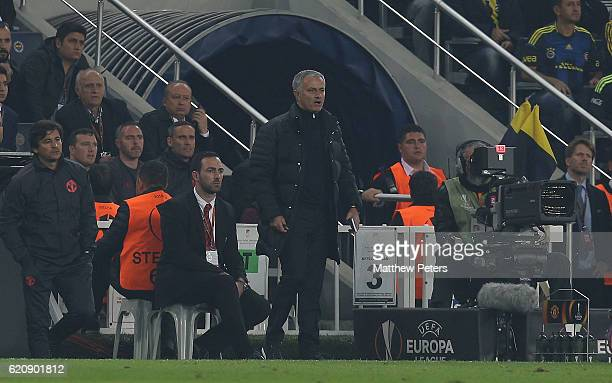 Manager Jose Mourinho of Manchester United watches from the touchline during the UEFA Europa League match between Manchester United and Fenerbahce at...