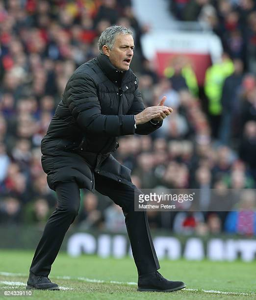 Manager Jose Mourinho of Manchester United watches from the touchline during the Premier League match between Manchester United and Arsenal at Old...