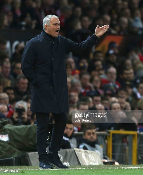 Manager Jose Mourinho of Manchester United watches from the touchline during the UEFA Europa League Round of 32 first leg match between Manchester...