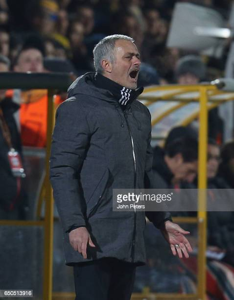 Manager Jose Mourinho of Manchester United watches from the touchline during the UEFA Europa League Round of 16 first leg match between FK Rostov and...