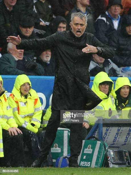 Manager Jose Mourinho of Manchester United watches from the touchline during the Premier League match between Huddersfield Town and Manchester United...
