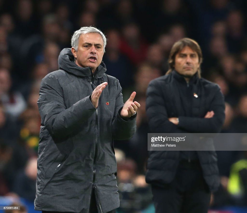 Manager Jose Mourinho of Manchester United watches from the touchline during the Premier League match between Chelsea and Manchester United at Stamford Bridge on November 5, 2017 in London, England.
