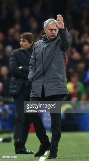 Manager Jose Mourinho of Manchester United watches from the touchline during the Premier League match between Chelsea and Manchester United at...