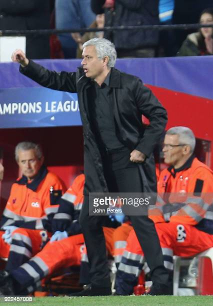 Manager Jose Mourinho of Manchester United watches from the touchline during the UEFA Champions League Round of 16 First Leg match between Sevilla FC...