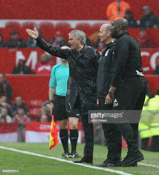 Manager Jose Mourinho of Manchester United watches from the touchline during the Premier League match between Manchester United and West Bromwich...