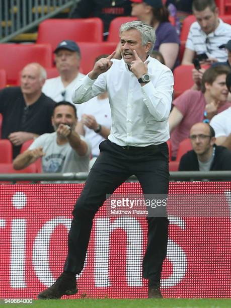 Manager Jose Mourinho of Manchester United watches from the touchline during the Emirates FA Cup semifinal match between Manchester United and...