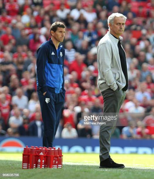 Manager Jose Mourinho of Manchester United watches from the touchline during the Premier League match between Manchester United and Watford at Old...