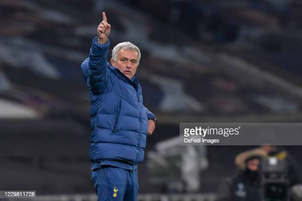Manager Jose Mourinho of Tottenham Hotspur gestures during the UEFA Europa League Group J stage match between Tottenham Hotspur and PFC Ludogorets...