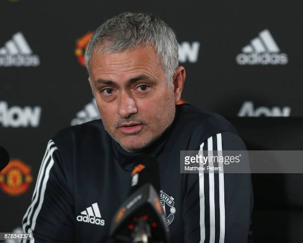 Manager Jose Mourinho speaks during a press conference at Aon Training Complex on November 24 2017 in Manchester England