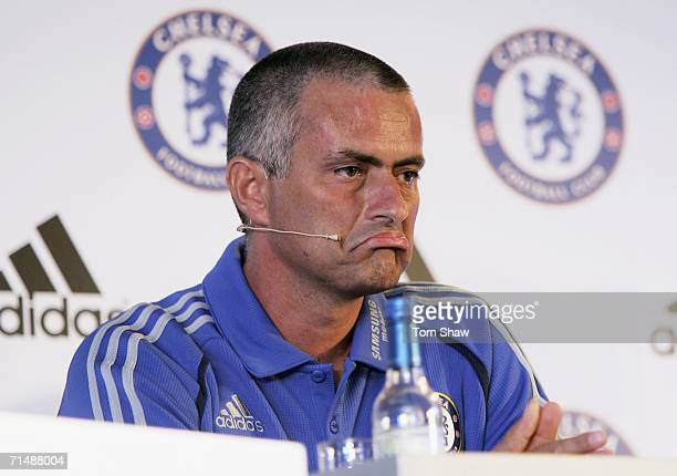 Manager Jose Mourinho speaks to the media at the Chelsea Football Club Kit Launch Press Conference at Stamford Bridge on July 20 2006 in London...