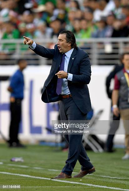 Manager Juan Antonio Pizzi of Chile coaches his team from the sidelines against Mexico during the 2016 Copa America Centenario Quarterfinals match...