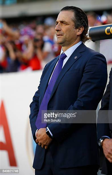 Manager Juan Antonio Pizzi of Chile on the sidelines in the first half during the 2016 Copa America Centenario Group D match against Panama at...