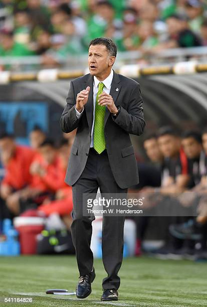 Manager Juan Carlos Osorio of Mexico coaches his team from the sidelines against Chile during the 2016 Copa America Centenario Quarterfinals match...