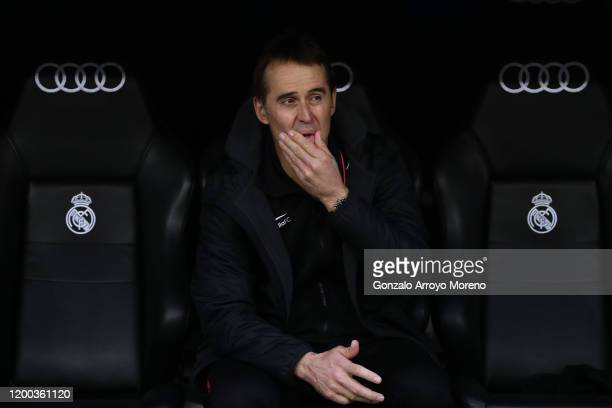 Manager Julen Lopetegui of Sevilla FC reacts from the bench prior to start during the Liga match between Real Madrid CF and Sevilla FC at Estadio...