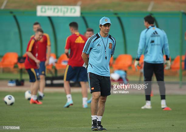 Manager Julen Lopetegui of spain during a Spain Training Session before the UEFA European U21 Championships final at Kfar Saba Stadium on June 17...
