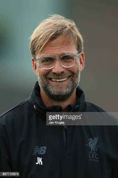 Manager Jurgen Klopp looks on during the Liverpool Training Session at Melwood on August 22 2017 in Liverpool England The second leg of the UEFA...