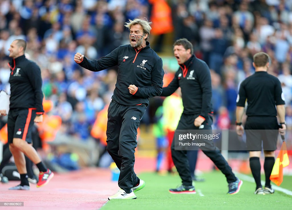 Manager Jurgen Klopp of Liverpool celebrates after Sadio Mane of Liverpool makes it 2-0 during the Premier League match between Liverpool and Leicester City at Anfield on September 10, 2016 in Liverpool, United Kingdom.