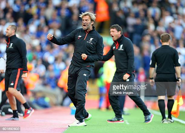 Manager Jurgen Klopp of Liverpool celebrates after Sadio Mane of Liverpool makes it 20 during the Premier League match between Liverpool and...