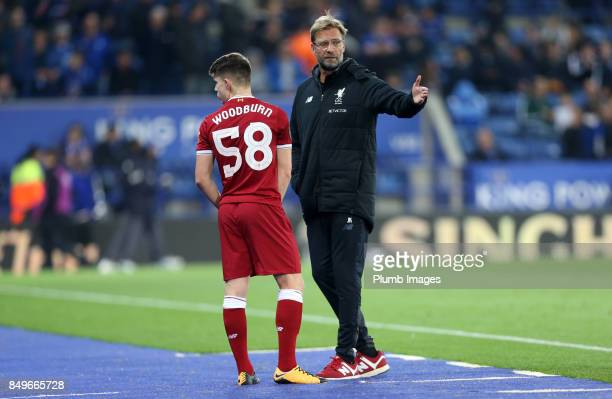 Manager Jurgen Klopp of Liverpool gives instructions to substitute Ben Woodburn of Liverpool during the Carabao Cup third round match between...