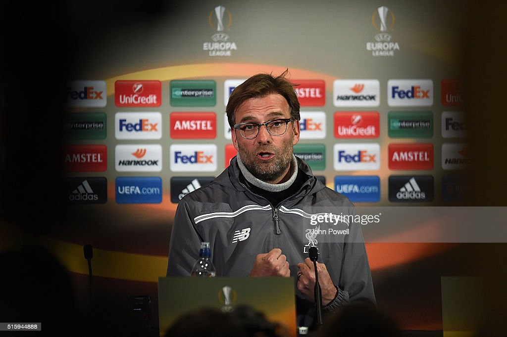Manager Jurgen Klopp of Liverpool speaks during a Press Conference at Old Trafford on March 16, 2016 in Liverpool, United Kingdom.