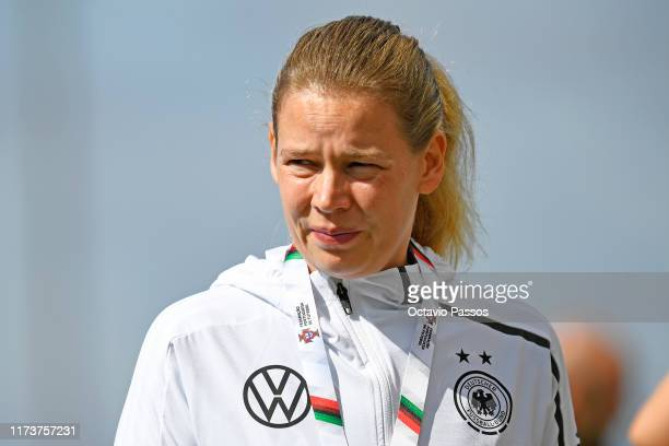 Manager Kathrin Peter of Germany during the UEFA Women's U19 European Championship Qualifier match between Germany and Azerbaijan at Cidade...