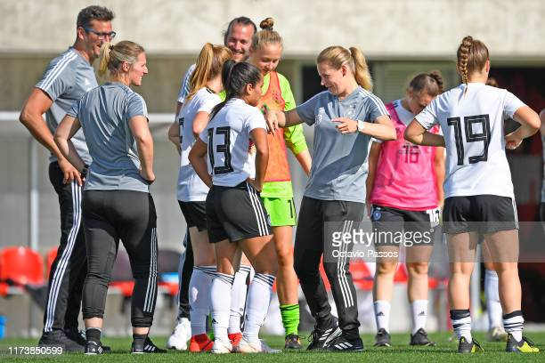 Manager Kathrin Peter of Germany reacts at the end of the UEFA Women's U19 European Championship Qualifier match between Germany and Azerbaijan at...