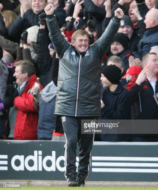 Manager Kenny Dalglish of Liverpool celebrates at the final whistle during the FA Cup Fourth Round match between Liverpool and Manchester United at...