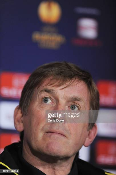 Manager Kenny Dalglish of Liverpool FC attends a press conference at Estadio Municipal de Braga ahead of their UEFA Europa League Round of 16 match...