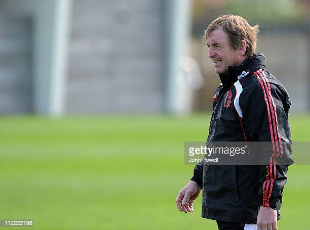 Manager Kenny Dalglish of Liverpool looks on during a training session at Melwood Training Ground, on April 15, 2011 in Liverpool, England.