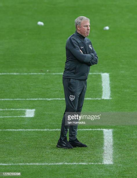 Manager Kenny Jacket of Portsmouth during the Sky Bet League One match between Sunderland and Portsmouth at Stadium of Light on October 24 2020 in...