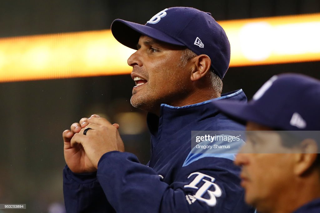 Manager Kevin Cash of the Tampa Bay Rays yells from the dugout while playing the Detroit Tigers at Comerica Park on April 30, 2018 in Detroit, Michigan.