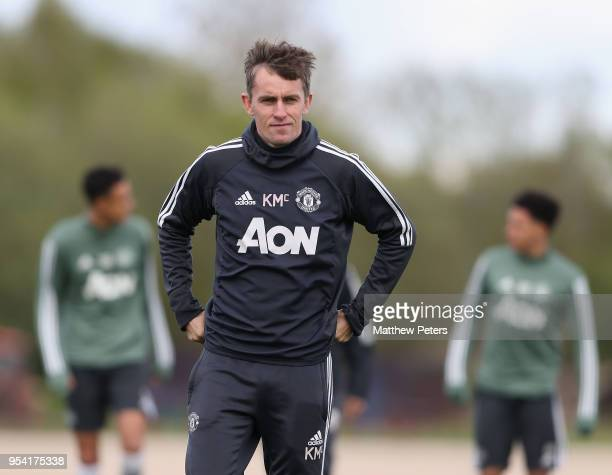 Manager Kieran McKenna of Manchester United U18s in action during an U18s training session at Aon Training Complex on May 2 2018 in Manchester England