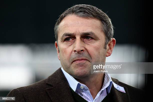 Manager Klaus Allofs of Bremen is seen prior to the ball during the Bundesliga match between SV Werder Bremen and Hamburger SV at Weser Stadium on...